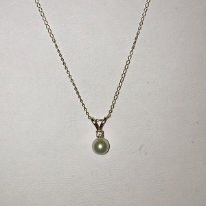 Jewelry - Genuine Pearl & Diamond 10k Necklace